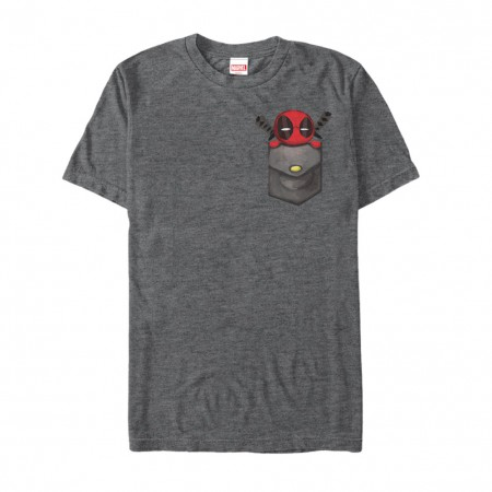 Deadpool Breast Pocket Men's Grey T-Shirt
