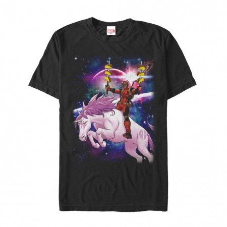 Deadpool Unicorn Tacos Men's Black T-Shirt