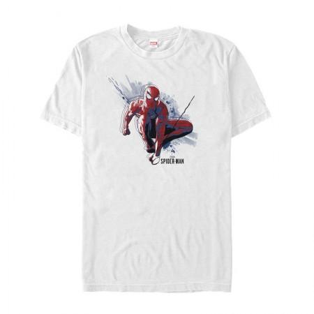Spider-Man Swinging Men's White T-Shirt