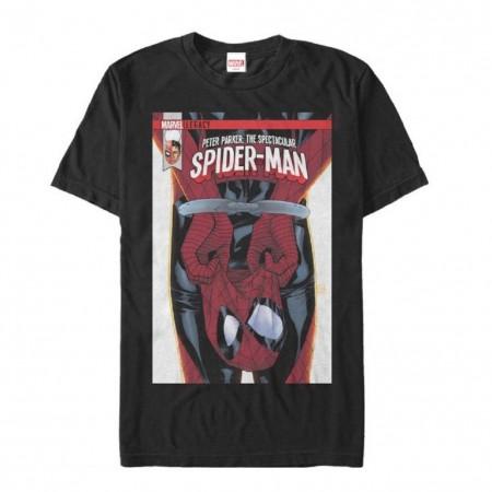 Spider-Man Unmasked Comic Men's Black T-Shirt