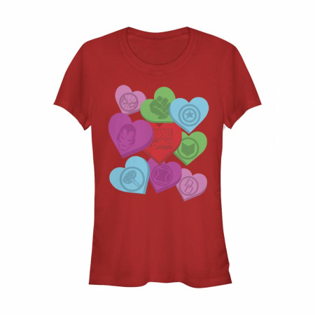 Marvel Heroes Valentine Candy Hearts Women's Red T-Shirt