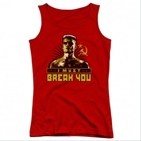 Rocky I Must Break You Red Juniors Tank Top