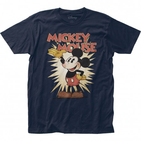 Mickey Mouse Men's Navy Blue Vintage T-Shirt