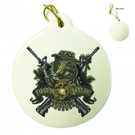 Marine Devil Dog First In Last Out Porcelain Ornament