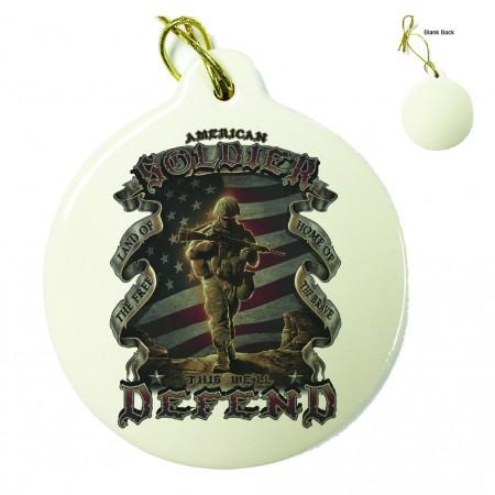 US Army American Soldier Porcelain Ornament