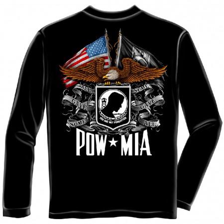 POW MIA Flags Black Long Sleeve T-Shirt