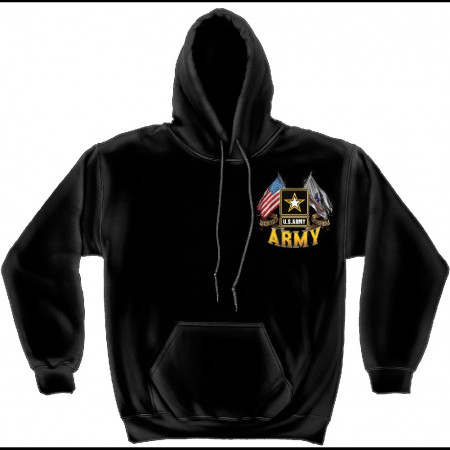 US Army Double Flags Black Hoodie