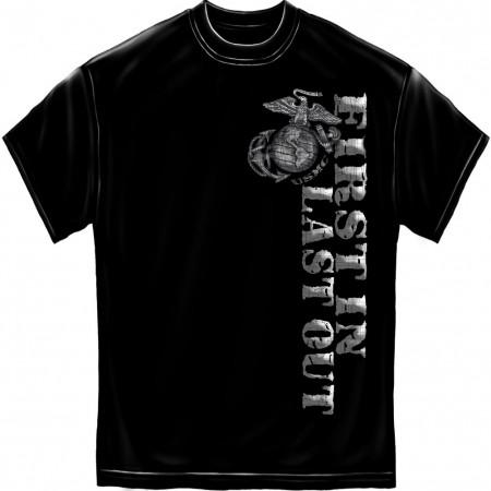 USMC Marines First In Foil Black T-Shirt