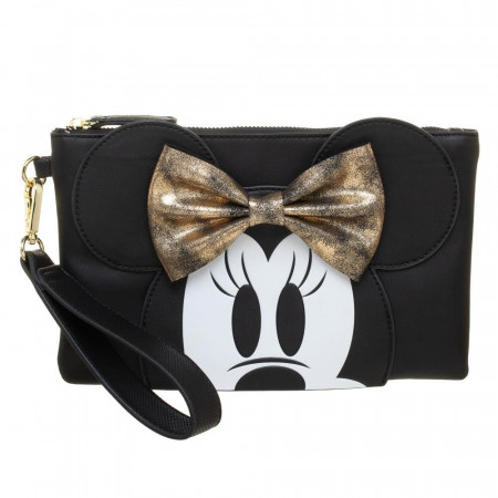 Minnie Mouse Gold Bow Clutch Wristlet Purse