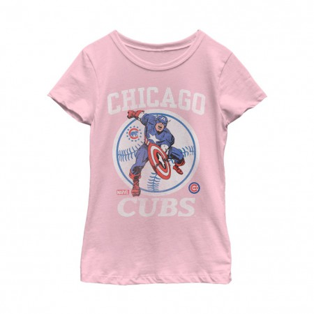 Captain America Chicago Cubs Women's Pink T-Shirt