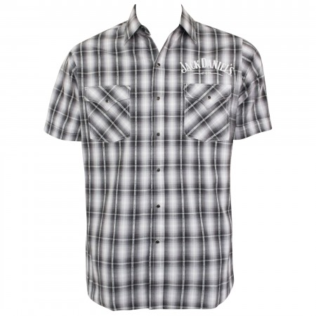 Jack Daniels Short Sleeve Plaid Textured Button Up Shirt