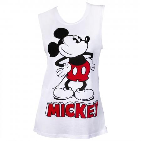 Mickey Mouse Pose Women's White Fashion Tank Top