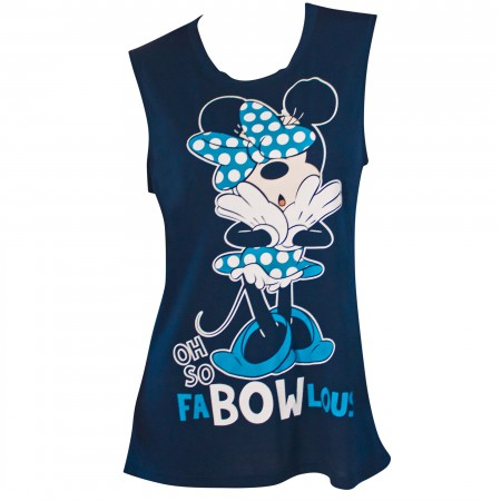 Minnie Mouse Blue Fab-Bow-Lous Women's Fashion Tank Top