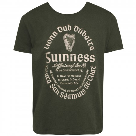 Guinness Gaelic Label Men's Khaki Green T-shirt