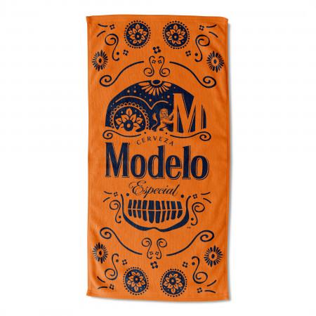 Modelo Orange Sugar Skull Beach Towel