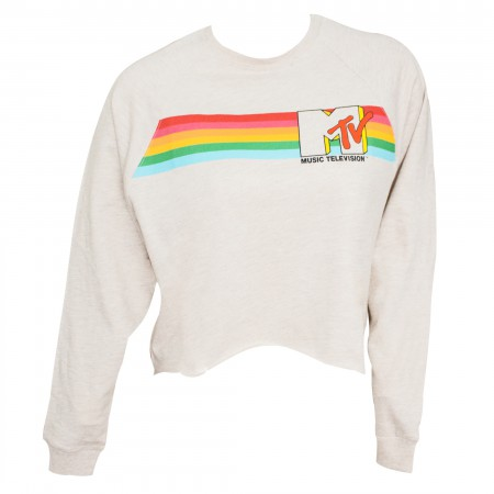 MTV Off-White High-Low Women's Raglan Sweatshirt