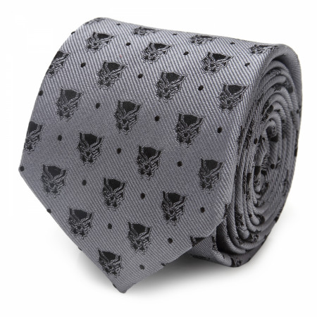Black Panther Logos Grey Silk Tie