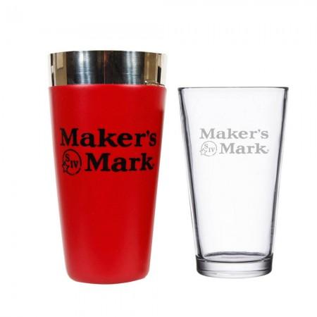 Maker's Mark Stainless Boston Cocktail Shaker Glass Set