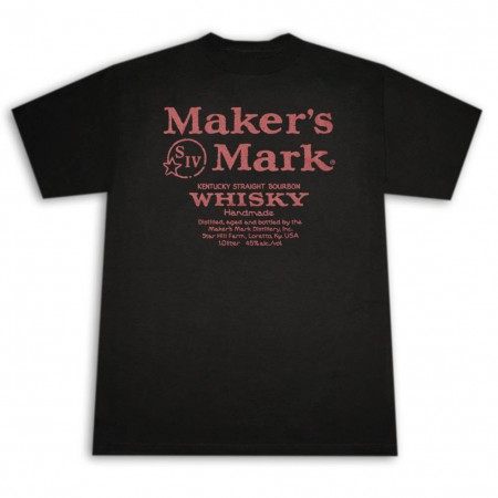 Maker's Mark Whiskey Label Graphic Men's Black And Red T-Shirt