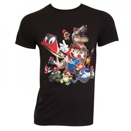 Super Mario Odyssey Men's Black Hats T-Shirt