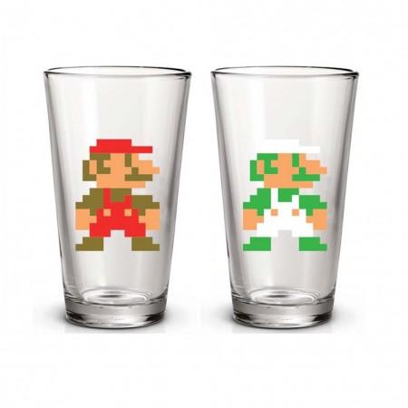 Super Mario And Luigi 16 Ounce Pint Glass Set