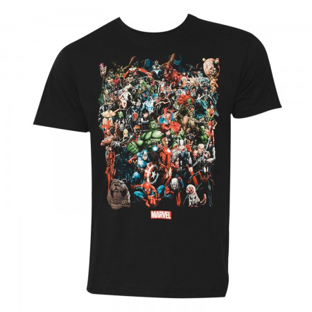 Marvel Universe Characters Men's Black Tee Shirt
