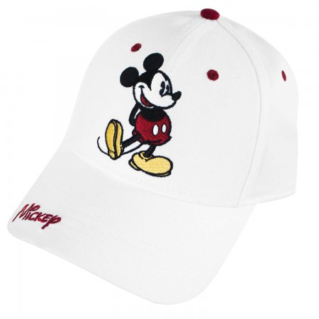 Mickey Mouse Classic Look Unisex White Adjustable Hat