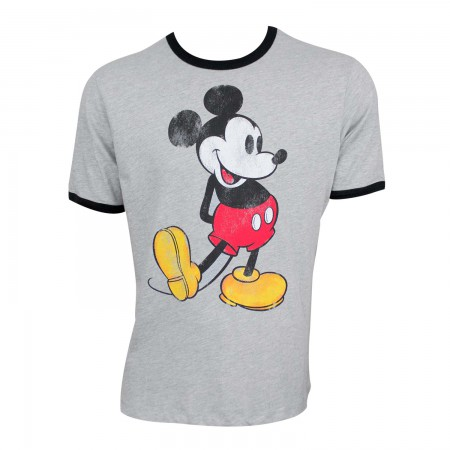 Mickey Mouse Men's Grey Ringer T-Shirt