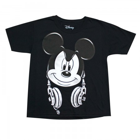 Mickey Mouse Youth Boys Black Headphones T-Shirt