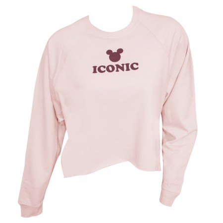 Mickey Mouse Ladies High Low Raglan Pink Iconic Sweatshirt