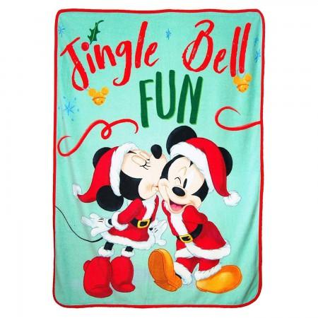 Mickey and Minnie Christmas Throw Fleece Blanket