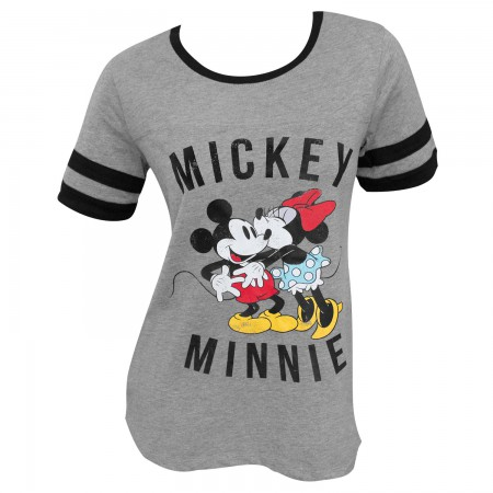 Mickey Minnie Mouse Kissing Striped Women's Gray Tee Shirt