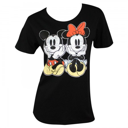 Mickey And Minnie Mouse Women's Black Distressed T-Shirt