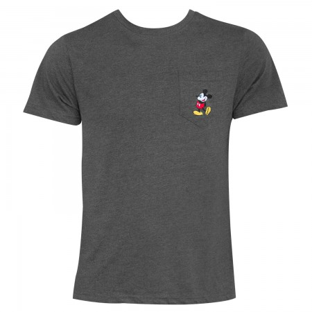 Mickey Mouse Grey Embroidered Pocket Tee Shirt