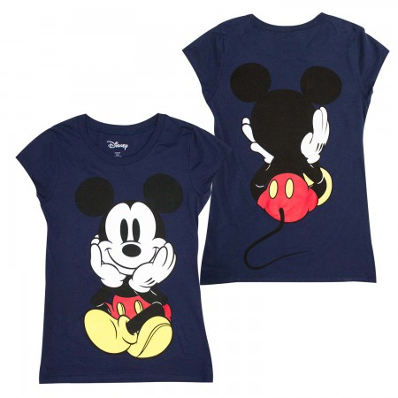 Mickey Mouse Front And Back Women's Blue T-Shirt