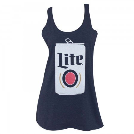 Miller Lite Can Triblend Women's Blue Racer Back Tank Top