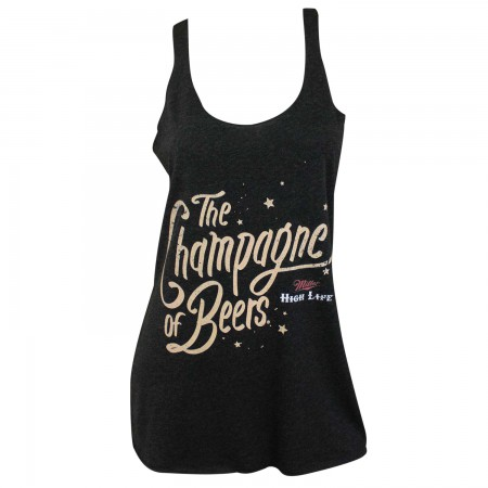 Miller High Life Champagne Logo Triblend Women's Racer Back Black Tank Top