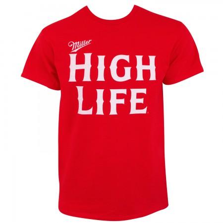 Miller High Life Text Logo Men's Red T-Shirt