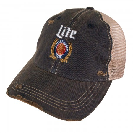 Miller Lite Logo Retro Brand Mesh Brown Men's Trucker Hat