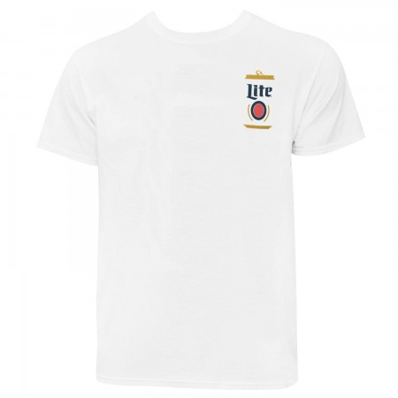 Miller Lite Simple Can Chest Men's White T-Shirt