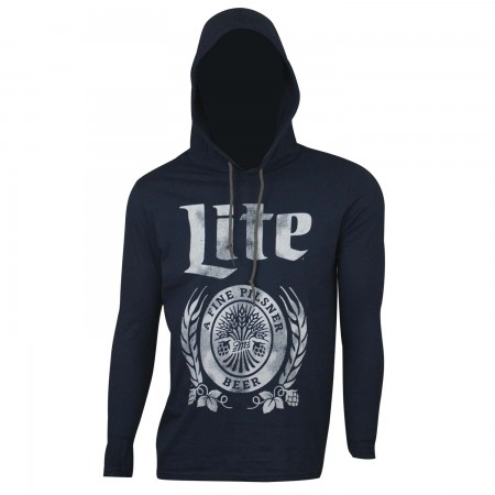 Miller Lite Beer Men's Blue Long Sleeve Hoodie T-Shirt