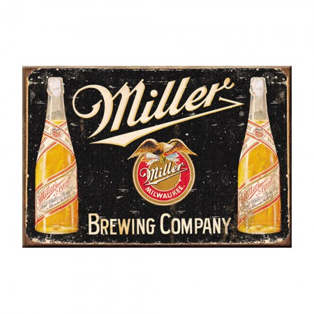 Miller Brewing Company Black Retro Logo Magnet