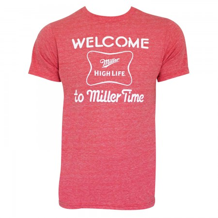 Miller High Life Men's Red Retro Brand Welcome To Miller Time T-Shirt