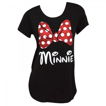 Minnie Mouse Glitter Bow Women's Black TShirt