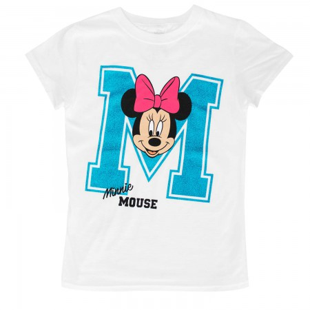 Minnie Mouse Sparkle M Youth Girls 7-16 White T-Shirt