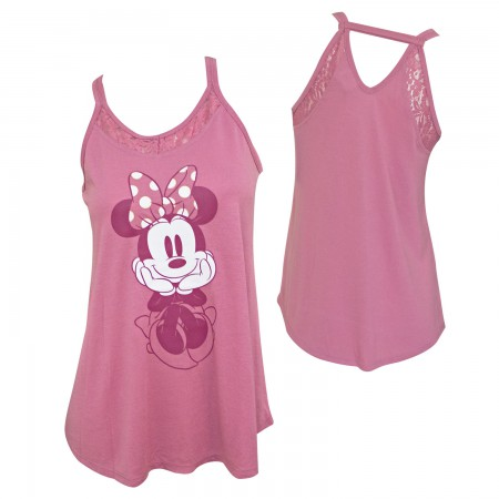 Minnie Mouse Lace Back Disney Women's Pink Tank Top