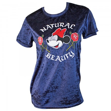 Minnie Mouse Women's Blue Velour Natural Beauty T-Shirt