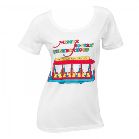 Mister Rodgers Women's White Neighborhood Trolley T-Shirt