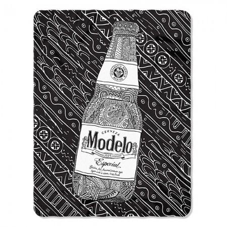 Modelo Black And White Bottle 45 X 60 Fleece Blanket