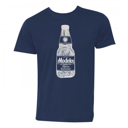 Modelo Line Art Bottle Men's Navy Blue T-Shirt